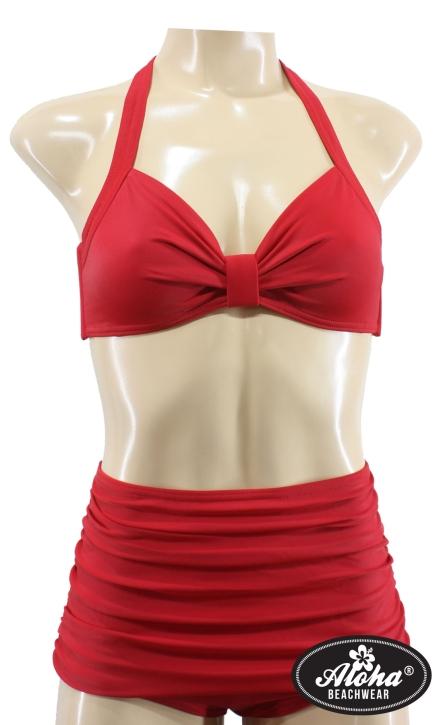 Vintage inspirierter Neckholder Bikini einfarbig Rot