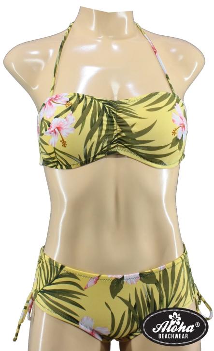 Cup Bandeau Bikini Hawaii Muster geblümt tropical tiki