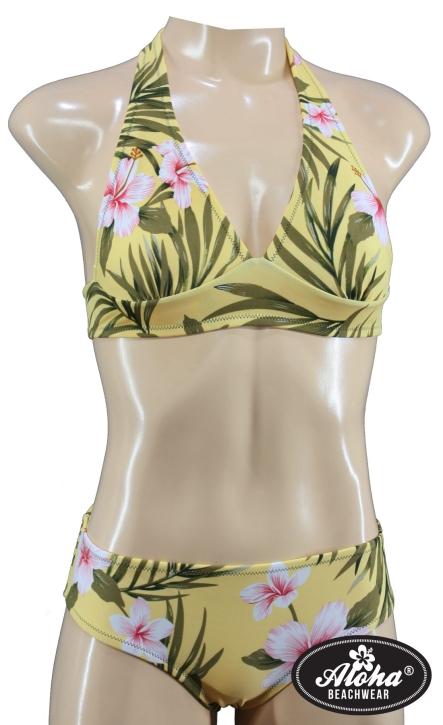 Tropical Retro Hawaii Bikini mit geraffter pantie geblümt