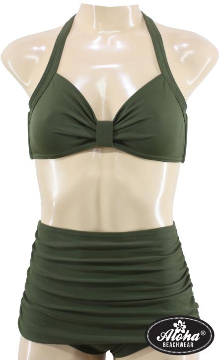 Damen Vintage Look Zweiteiler Bikini einfarbig Grün M / 38 / UK 12
