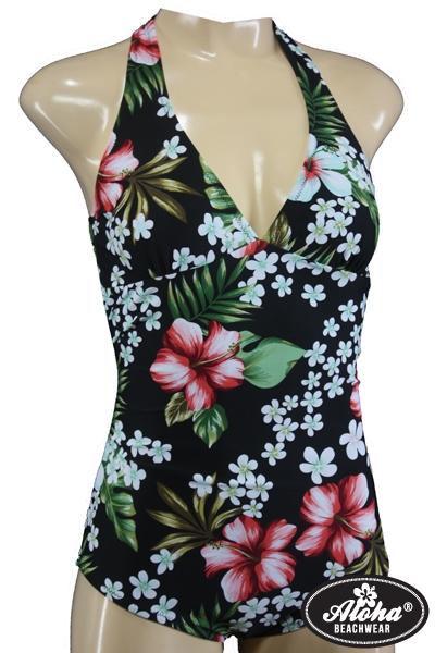 Pin Up Neckholder Vintage Style Badeanzug mit Hibiskusblüten