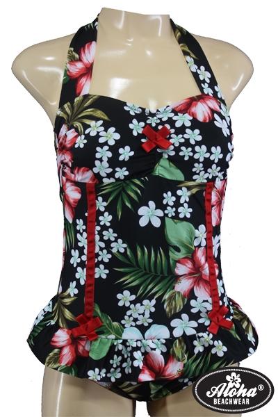 Fünfziger Jahre Rockabilly Vintage Badeanzug mit Hibiskusblüten