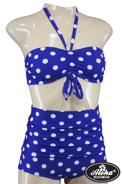 Vintage Bandeau Bikini High Waist mit Polka Dots
