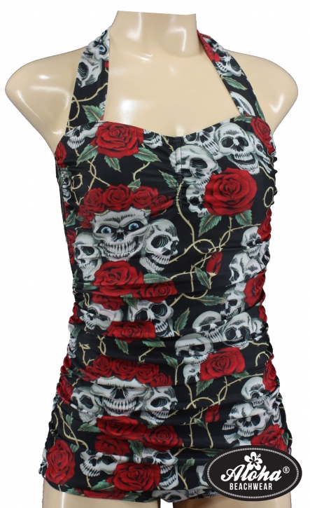 Rockabilly fashion Damen retro Badeanzug tattoo totenkopf rose