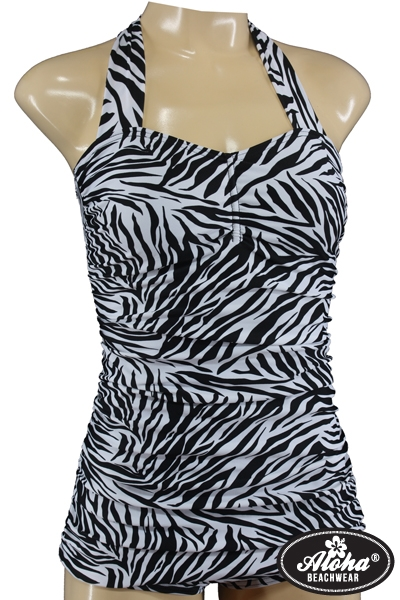 Vintage Style Zebra Look Halter Neck Swimsuit