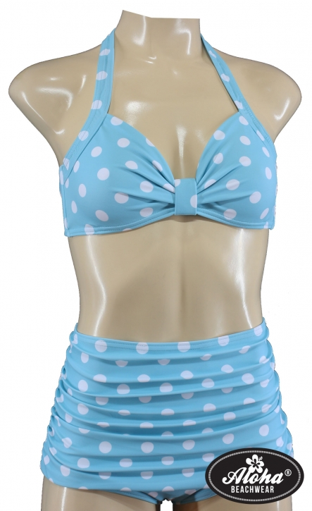Bikini-Set vintage look dotted Cyan fifties rockabilly