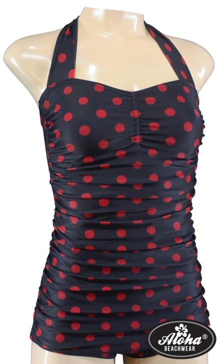 Damen Badeanzug in Rot Schwarz mit Polka Dots 1940er
