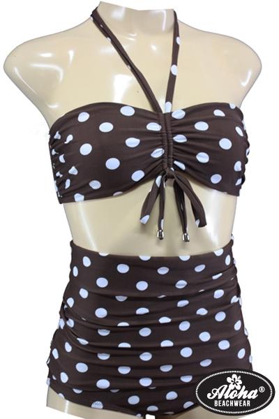 Bikini Vintage-Style High Waisted Braun