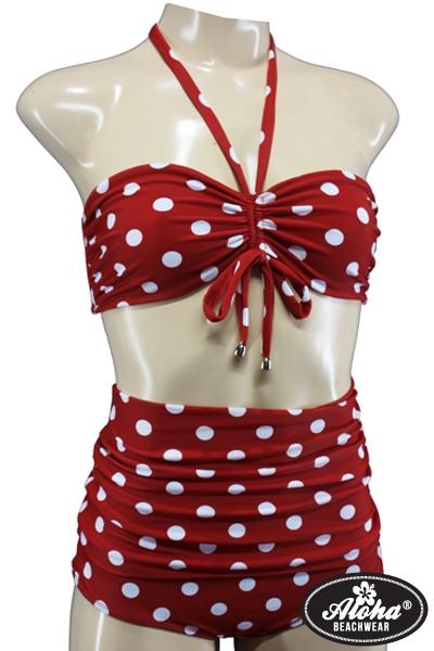 Bikini Vintage-Style High Waisted Rot