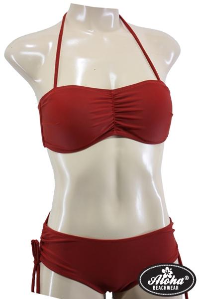 Bandeau Bikini Vintage-Style Rot