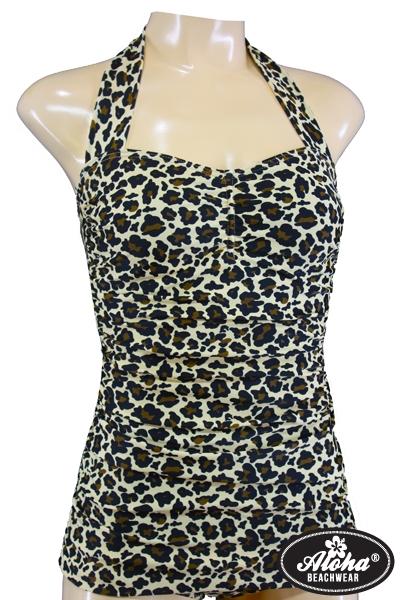 Vintage Style Leo Neckholder Badeanzug Cheetah