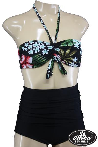 Vintage High Waist Bandeau Bikini Floral