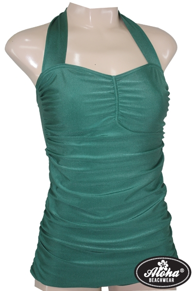 1950s Vintage Pin Up Swimsuit Shiny Green