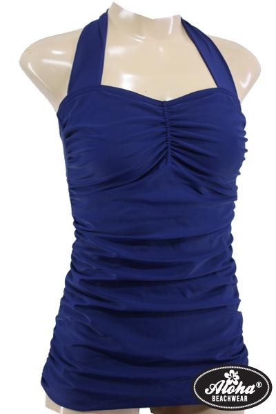 Vintage Neckholder Badeanzug Blau