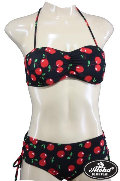 Pin Up Vintage Bandeau Neckholder Bikini mit Kirschen
