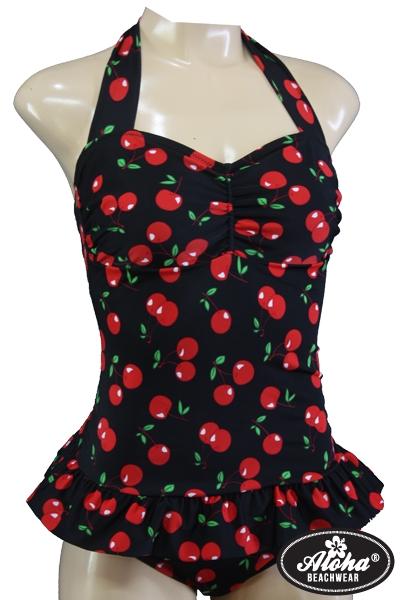 50s Rockabilly Vintage Badeanzug Kirschen Cherry
