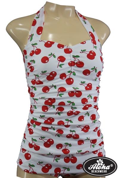 Fifties Rockabilly Vintage Badeanzug Kirschen Cherry