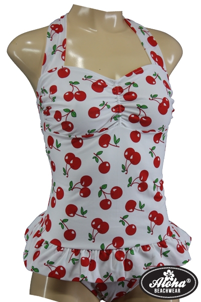 Fifties Rockabilly Vintage Badeanzug Kirschen Cherry
