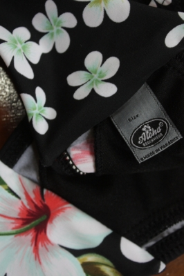 Vintage High Waist Bandeau Bikini Hibiskus Blüten