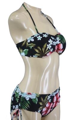 Fünfziger Rockabilly Pin Up Bandeau Bikini mit Hibiskusblüten