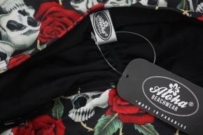 Vintage Damen Badeanzug mit Skulls und Rosen Rockabilly Tattoo fashion