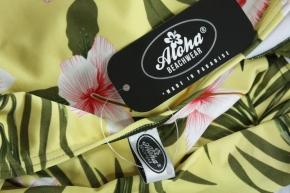 Hawaiimuster gelber Badeanzug vintage Bademode Tiki