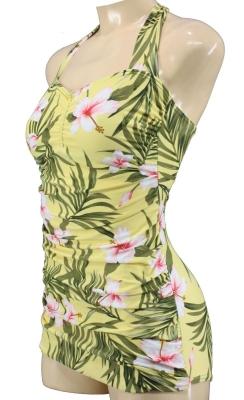 Retro Badeanzug gelb aloha vintage Swimsuit Rockabella floral