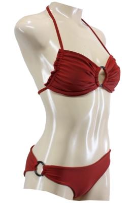 Neckholder Bikini in Rot mit Ringapplikationen