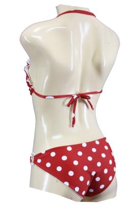 Pin Up Polka Dots Neckholder Bikini mit Applikationen